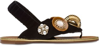 Miu Miu Jewellery-Embellished Flat Sandals