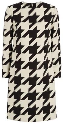 Gucci Silk-Wool Houndstooth Mini Dress