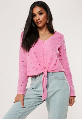 Missguided Pink Long Sleeve Broderie Top