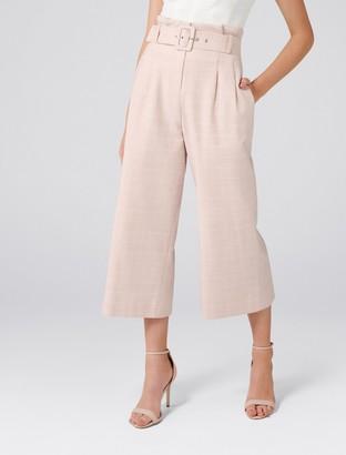 Forever New Becca Petite High-Waist Belt Culottes - Blush Check - 14