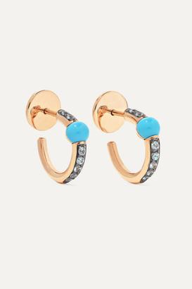 Pomellato M'ama Non M'ama 18-karat Rose Gold, Turquoise And Zircon Earrings - one size