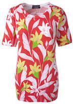 Lands' End Women's Tall Supima Print Jewelneck Sweater-Ivory Spots