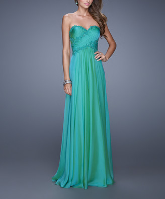 La Femme Women's Special Occasion Dresses Jungle - Jungle Green Lace-Accent Embellished Strapless Gown - Women