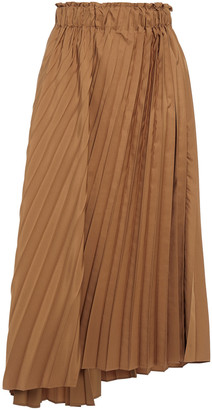 Brunello Cucinelli Asymmetric Pleated Sateen Midi Skirt