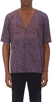 "Robert Geller MEN'S ""THE PRINTED\"" COTTON POPLIN BASEBALL SHIRT-PURPLE, BURGUNDY, NAVY SIZE 46 EU"