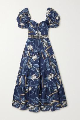 Johanna Ortiz Net Sustain Botanical Heritage Tiered Floral-print Tencel Midi Dress - Navy