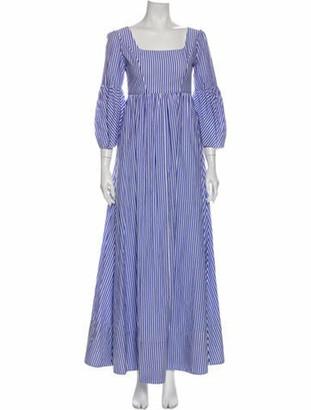 STAUD Striped Long Dress Blue