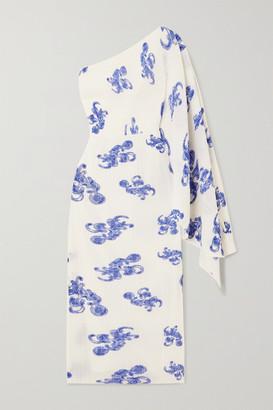 SOLACE London Lila One-shoulder Printed Plisse-crepe Midi Dress - Blue