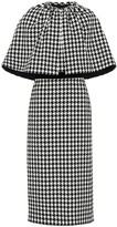 Gucci Houndstooth wool-blend cape dress