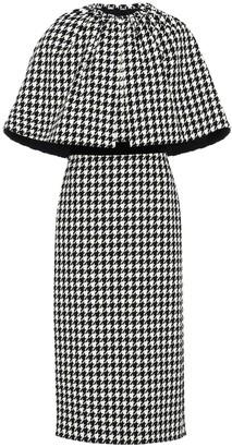 Gucci Houndstooth wool-blend cape dress