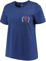 Majestic Women's Royal New York Mets Plus Size Scoop Neck Pocket T-Shirt