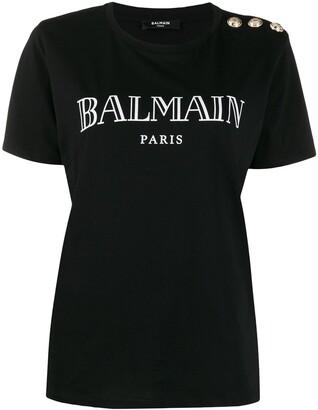 Balmain logo buttoned T-shirt