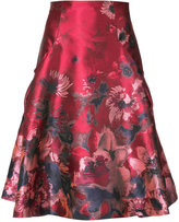 Carolina Herrera embroidered flared pleated skirt