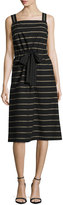 Lafayette 148 New York Lorelei Sleeveless Vesterbo Striped Cotton Dress, Black Multi
