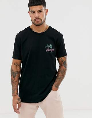 Bershka t-shirt in black with neon lights back print