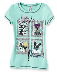 Beautees Girls' 7-16 Mint BFF Puppy Tee