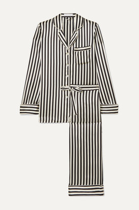 Olivia von Halle Lila Striped Silk-satin Pajama Set - Black