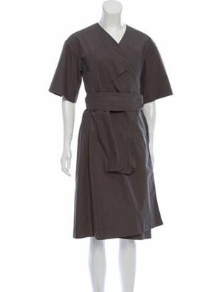 Celine V-Neck Midi Length Dress Grey