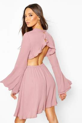 boohoo High Neck Open Back Skater Dress