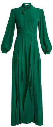 Raquel Diniz Armonia Pussy-bow Silk-crepe Dress - Womens - Dark Green
