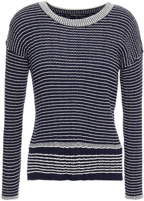 James Perse Striped Ribbed Wool-blend Sweater