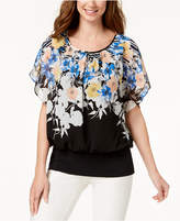 JM Collection Floral-Print Banded-Hem Top, Created for Macy's