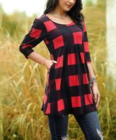 Buffalo David Bitton Reborn Collection Women's Tunics Red - Red Check Empire-Waist Tunic - Women & Plus