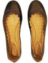 Chloé Scallop Metallic Brown Leather Flat