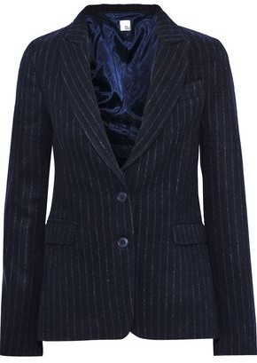 Iris & Ink Eryka Pinstriped Brushed Wool-blend Blazer