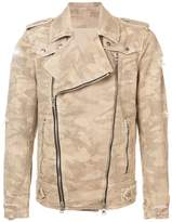 Balmain destroyed camouflage print biker jacket