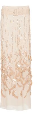 Prada Belted Embellished Silk-Chiffon Maxi Skirt