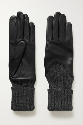 Agnelle Cecilia Leather And Ribbed Alpaca Gloves - Black
