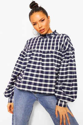 boohoo flannel Smock Blouse
