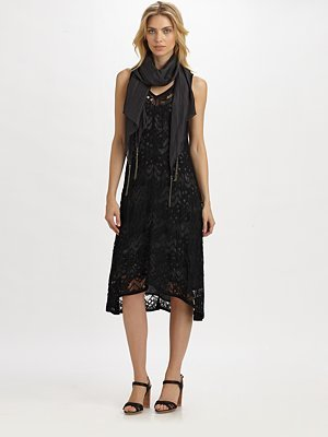Eileen Fisher Crinkled-Lace Slip Dress