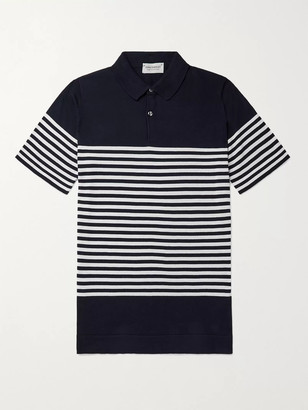 John Smedley Rill Striped Sea Island Cotton Polo Shirt