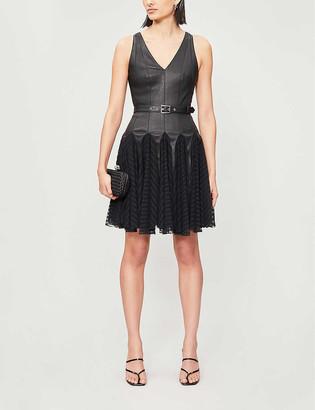 Jitrois Jane leather and stretch-lace mini dress