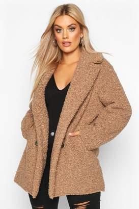 boohoo Plus Teddy Faux Fur Double Breasted Coat