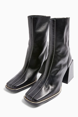 Topshop Womens Hades Leather Black Boots - Black