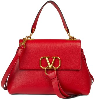 Valentino Logo Flap-Top Leather Crossbody Bag