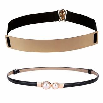Timagebreze Women's Mirror Metal Waist Belt Metallic 25x4cm with Belt Ladies Dress Fashion Pearls Buckle Elastic Waistband Belt
