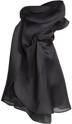 Nina Ricci Draped One-Shoulder Silk-Blend Cocktail Dress