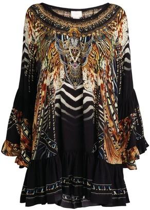 Camilla Silk Off-The-Shoulder Dress