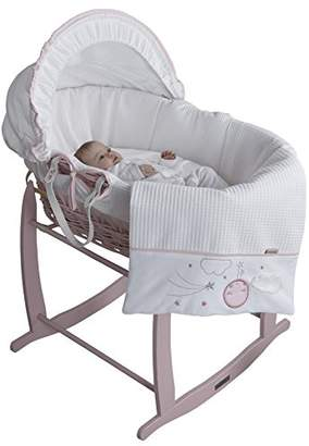 Clair De Lune Wicker Moses Basket, Pink, Over The Moon