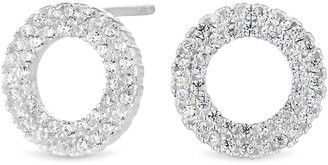 Simply Silver Cubic Zirconia Open Round Double Pave Stud