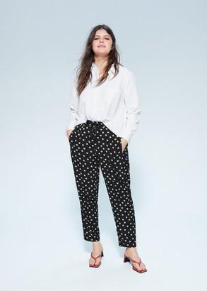 MANGO Violeta BY Printed baggy pants black - S - Plus sizes