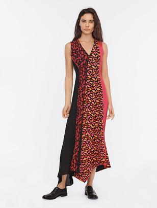 Diane von Furstenberg Janina Chiffon Asymmetrical Maxi Dress