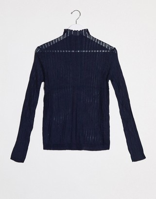 Raga Quinn mock neck burnout knit long sleeved top
