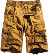 RUAYE Men's Cotton Loose Fit Multi Pocket Cargo Shorts