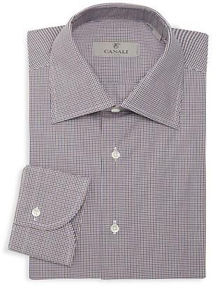 Canali Mini Check Print Dress Shirt