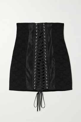 Dolce & Gabbana Lace-up Satin-trimmed Floral-jacquard Mini Skirt - Black